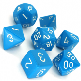 Light Blue & White Opaque Polyhedral 7 Dice Set